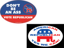 "PRO GOP COMBO 2 PACK - 1 ""DON'T BE AN ASS - VOTE REPUBLICAN"" & 1 ""AMERICAN, REPUBLICAN, YES WE CAN!"" 4x6 Inch Political Bumper Stickers"
