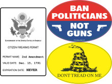 "PRO 2ND AMENDMENT 3 PACK - Qty 1 ""2A CITIZEN GUN PERMIT"", Qty 1 ""BAN POLITICIANS NOT GUNS"" & Qty 1 ""DONT TREAD ON ME"" GADSDEN FLAG DESIGN 4x6 Inch Political Bumper Stickers"