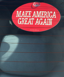 "Plastic Hanging Suction Cup Car Window Political Sign - Donald Trump ""MAKE AMERICA GRET AGAIN"" 4x6 Inch"