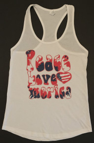 PEACE LOVE 'MERICA - PRO USA PATRIOTIC WOMEN'S RACERBACK TANK TOP