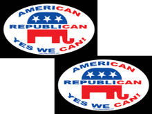 "2 PACK - ""AMERICAN, REPUBLICAN, YES WE CAN!"" 4x6 Inch Political Bumper Stickers"