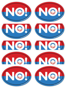 "10 PACK - Anti-Obama NObama ""NO!"" 4x6 Inch Political Bumper Stickers"