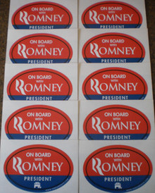 """10 PACK - """"ON BOARD WITH ROMNEY"""" 4x6 Inch Oval Bumper Stickers"""