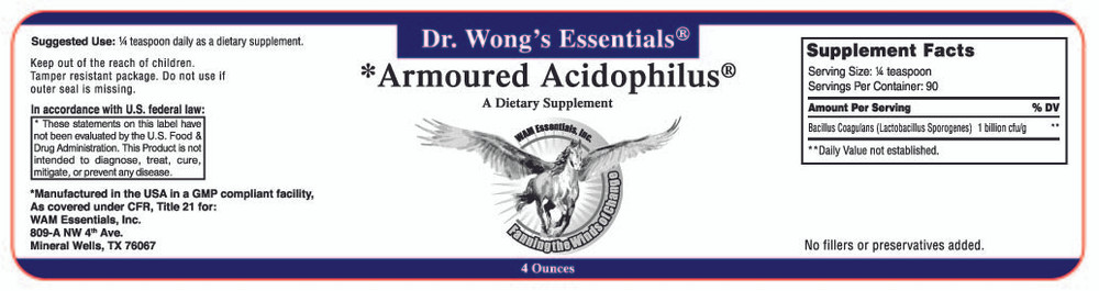 Armoured Acidophilus®: label information
