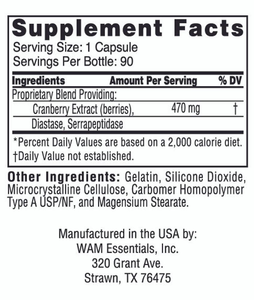 Cran-Diazyme®: supplement facts panel