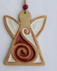 Angel decoration made from stoneware clay and coloured glazes. Hessian string and bead added to hang. Supplied on a product card.