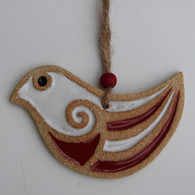 Dove decoration made from a textured stoneware clay and coloured glazes. Hessian string and bead added to hang. Supplied on a product card.