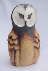 Small Owl made from a textured stoneware clay, white glaze and oxide.