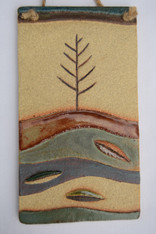 Autumn plaque made from a textured stoneware clay, coloured glazes and oxide.