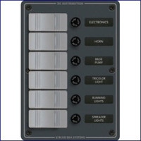 Blue Sea Systems 8053  Panel h20 12V DC 6 Position Vertical Gray