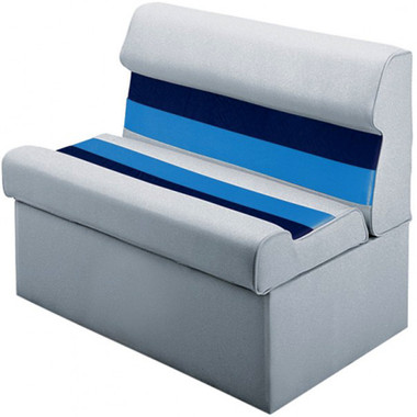 """Wise Plastic Frame Deluxe Pontoon Furniture - 36"""" Lounge Seat w/Base  WD100 White/Navy/Blue"""