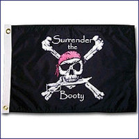 "Taylor Made 12"" x 18"" Pirate Head Nylon Flag - Surrender Booty  1805"