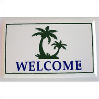 "Welcome Plaque with Palm Tree 4"" x 6""  MR-WLCM"