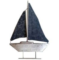 "Sailboat Decoration Wood and Tin 13"" Tall"
