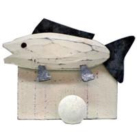 Wooden Fish Coat Hook Wood and Tin