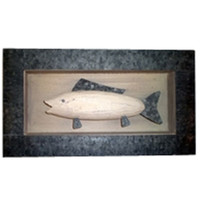 Fish Shadow Box Decoration Wood and Tin