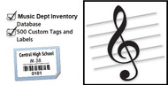 The Music Dept Startup Package includes the Music Dept. Inventory Database and 500 tags and labels (250 tags for garments, 250 labels for equipment/instruments).