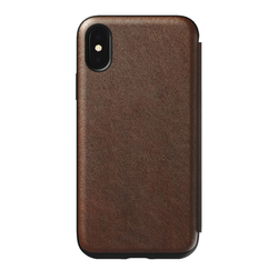 Nomad Horween Leather Rugged Folio Case iPhone X/Xs - Rustic Brown