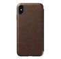 Nomad Horween Leather Rugged Folio Case iPhone Xs Max - Rustic Brown