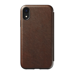 Nomad Horween Leather Rugged Tri-Folio Case iPhone XR - Rustic Brown