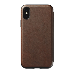 Nomad Horween Leather Rugged Tri-Folio Case iPhone X/Xs - Rustic Brown