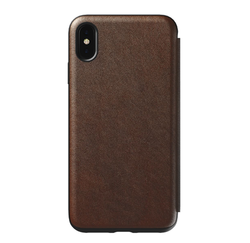 Nomad Horween Leather Rugged Tri-Folio Case iPhone Xs Max - Rustic Brown