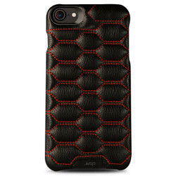 Vaja Grip Matelasse Leather Case iPhone 7 - C Black with Red thread