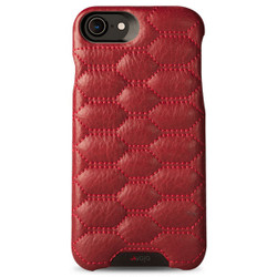 Vaja Grip Matelasse Leather Case iPhone 7 - Bridge Chili with Red thread