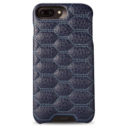 Vaja Grip Matelasse Leather Case iPhone 7+ Plus - F Crown Blue with L Blue thread