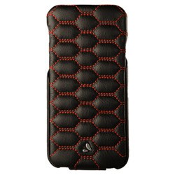 Vaja Top Matelasse Leather Case iPhone 7 - C Black with Red thread