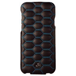 Vaja Top Matelasse Leather Case iPhone 7 - C Black with Blue thread