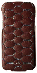 Vaja Top Matelasse Leather Case iPhone 7 - Bridge Pinecone with L Blue thread
