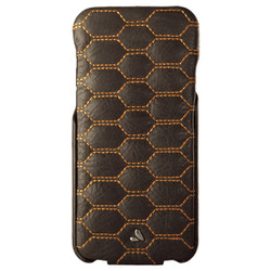 Vaja Top Matelasse Leather Case iPhone 7 - Bridge Charcoal with Orange thread