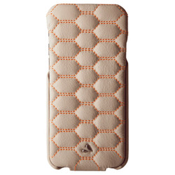 Vaja Top Matelasse Leather Case iPhone 7 - C Birch with Orange thread