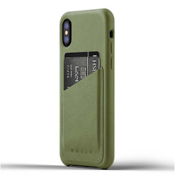 Mujjo Full Leather Wallet Case iPhone X/Xs - Olive