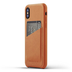 Mujjo Full Leather Wallet Case iPhone X/Xs - Tan