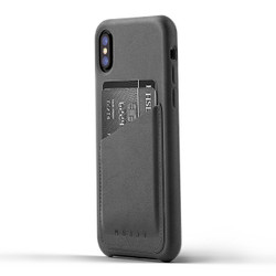 Mujjo Full Leather Wallet Case iPhone X/Xs - Grey