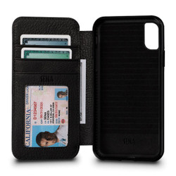 SENA Bence Wallet Book Leather Case iPhone X - Black