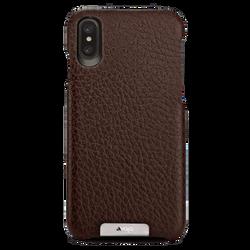 Vaja Grip Leather Case iPhone X/Xs - Floater Dark Brown/Birch