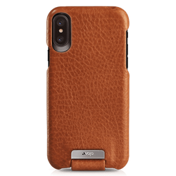 Vaja Top Leather Case iPhone X/Xs - Bridge Saddle Tan