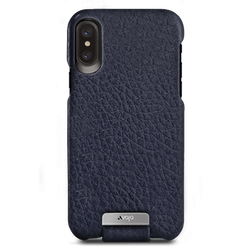 Vaja Top Leather Case iPhone X/Xs - Floater Crown Blue