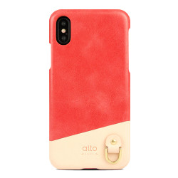 Alto Anello Leather Case iPhone X/Xs - Coral
