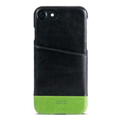 Alto Metro Leather Case iPhone 8/7 - Raven/Lime