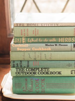 Vintage cookbooks, the cocktail supper cookbook, what to do with herbs, the home kitchen, the complete outdoor cookbook