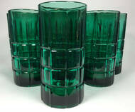 Vintage Green Tartan Plaid Iced Tea Tumblers Anchor Hocking Set of 8 front