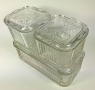 Vintage Glass Refrigerator Dishes with Covers Vegetable Motif Set of 6