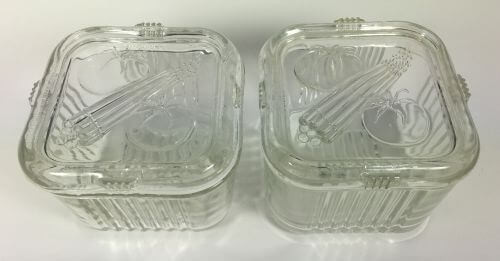 Vintage Glass Refrigerator Dishes with Covers Vegetable Motif Set of 4