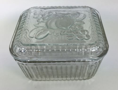 Vintage Clear Glass Refrigerator Dishes with Cover Fruit Motif Federal Set of 2