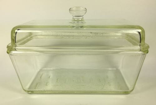 Vintage Covered Clear Glass Loaf or Refrigerator Dish Westinghouse