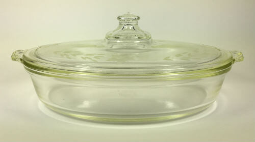 Pyrex Clear Glass Oval Refrigerator Dish With Etched Cover